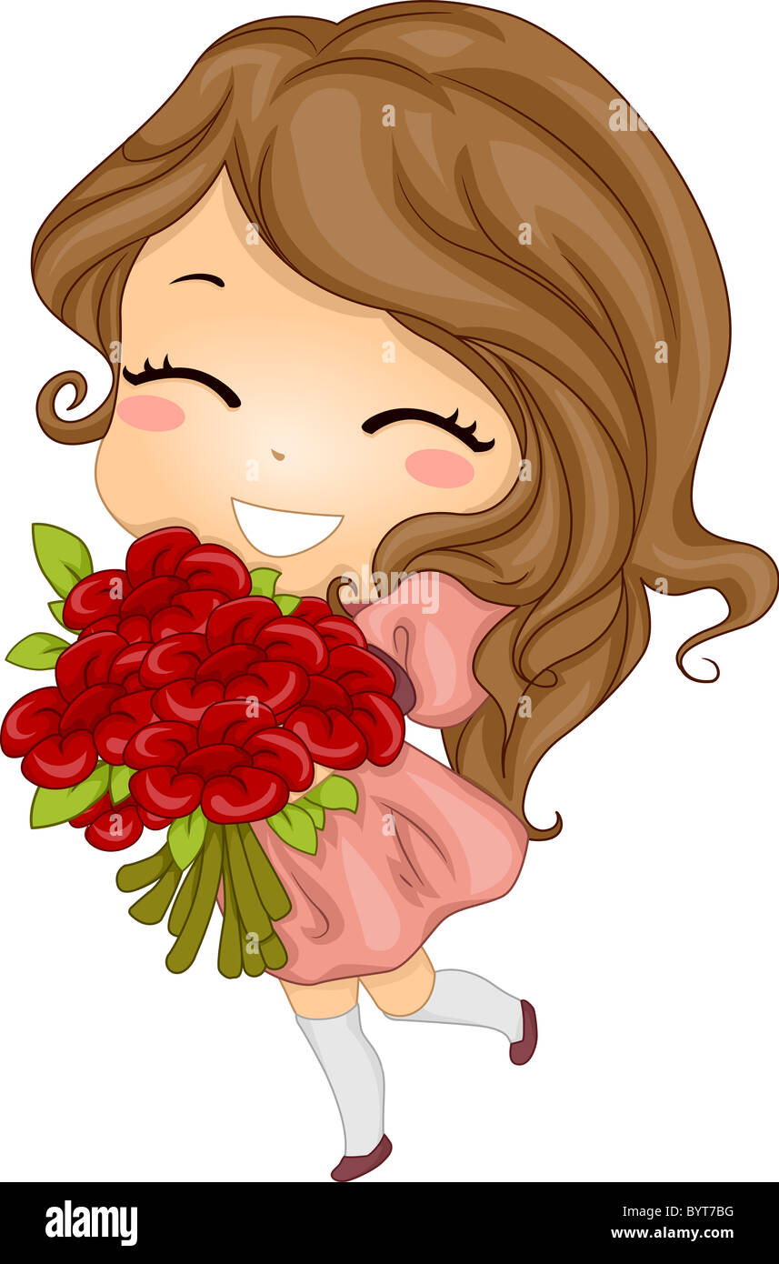 Illustration of a girl carrying a bouquet of flowers stock photo illustration of a girl carrying a bouquet of flowers izmirmasajfo Choice Image