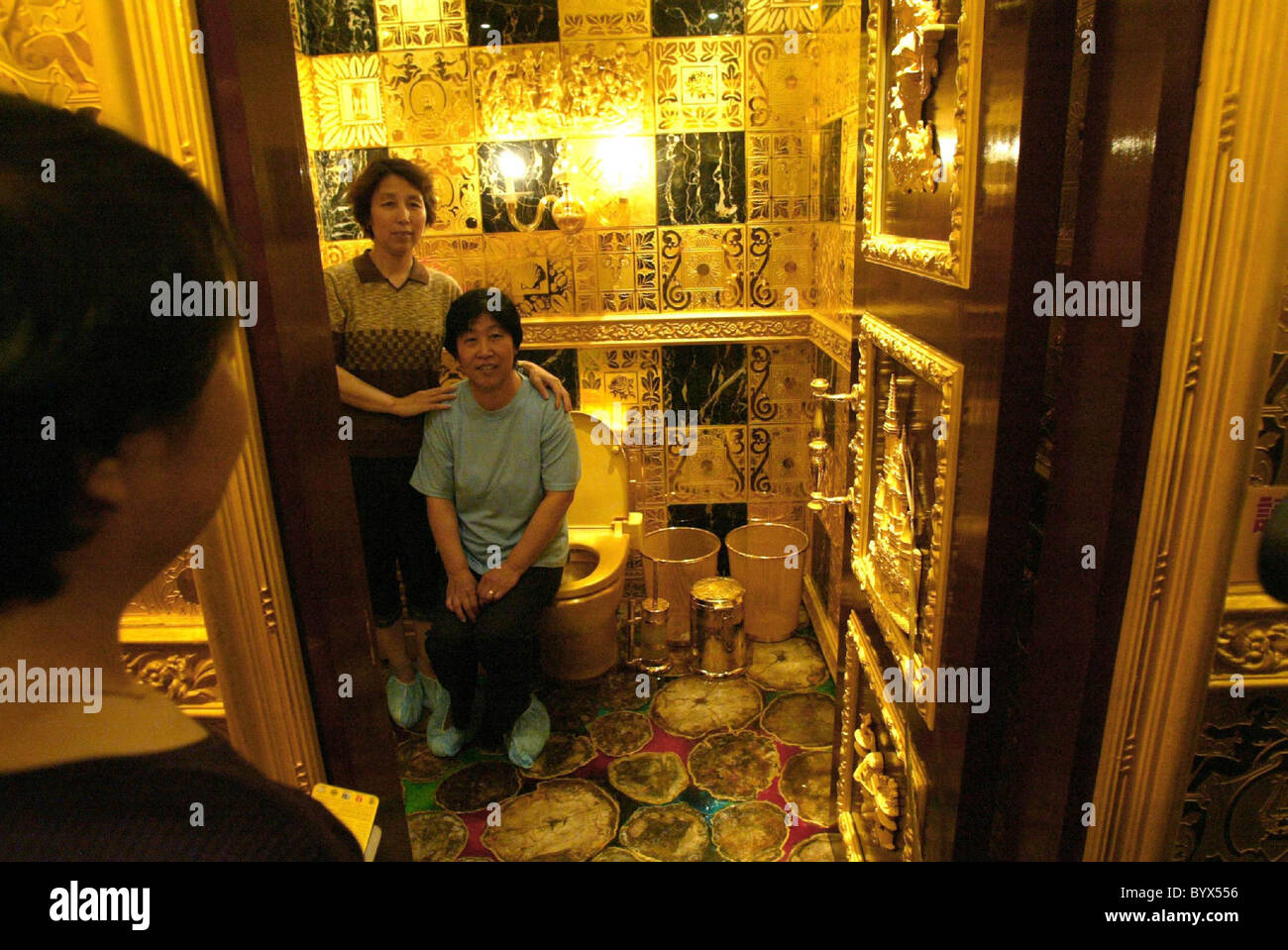 gold toilet. GOING FOR GOLD This solid 24 carat gold toilet is encrusted with more rocks  than