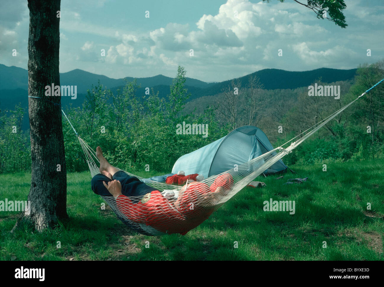 hiker relaxes in hammock at campsite along the appalachian trail north carolina m hiker relaxes in hammock at campsite along the appalachian trail      rh   alamy