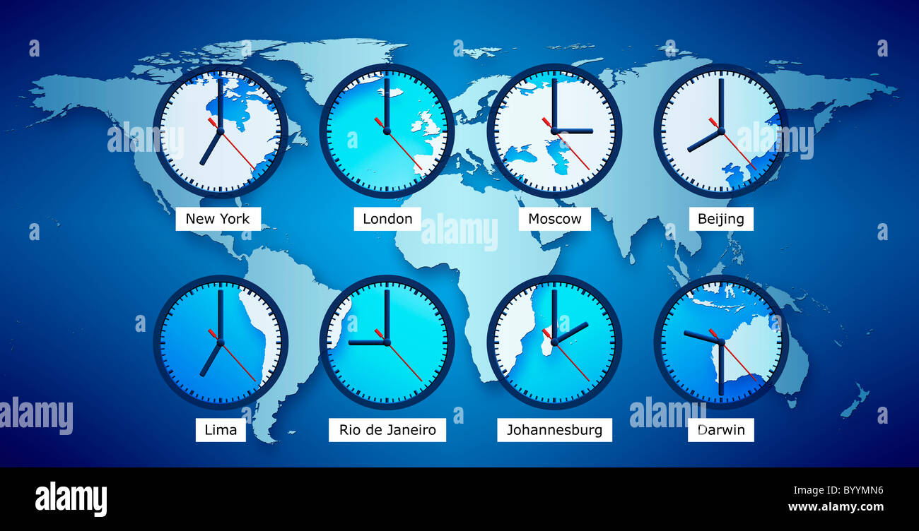 World map with clocks displaying local time stock photo 34415058 world map with clocks displaying local time gumiabroncs Choice Image