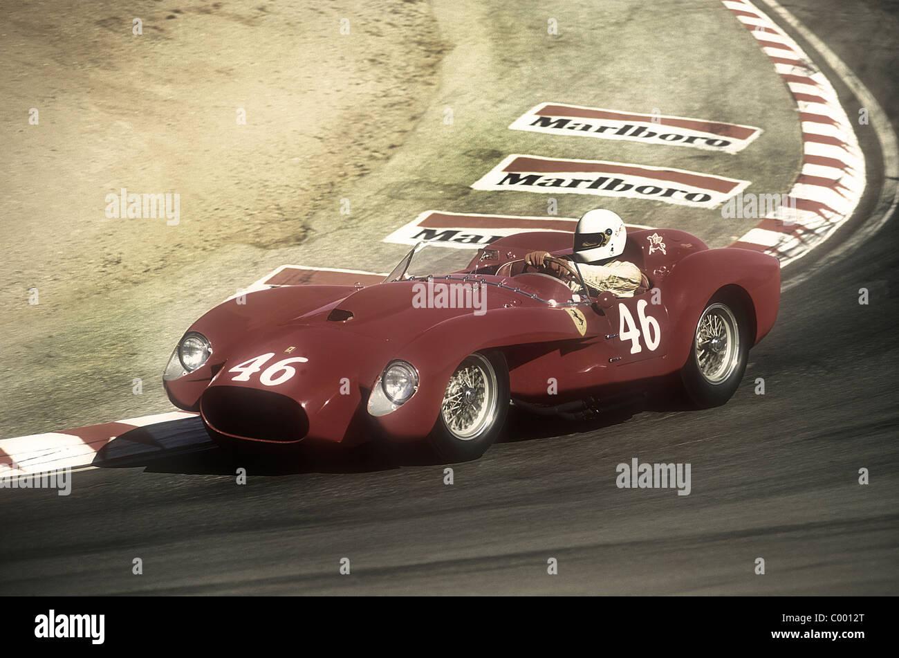1950u0027s Ferrari 250 TR Racing Down The Corkscrew At Monterey Historic Races  Laguna Seca California 1990