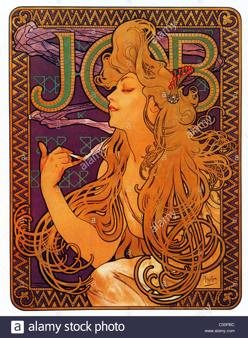 Super Alphonse Mucha (Alfons Maria) 1860 - 1939 Job, cigarette paper  IS31