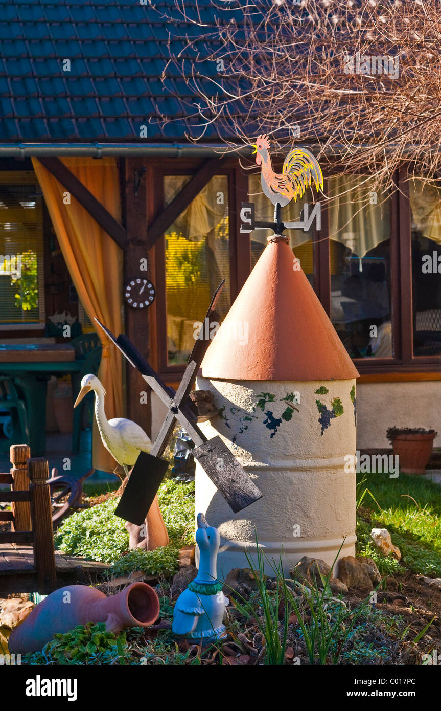 Ornamental Garden Windmill Made From Old Oil Drum   Indre Et Loire, France.
