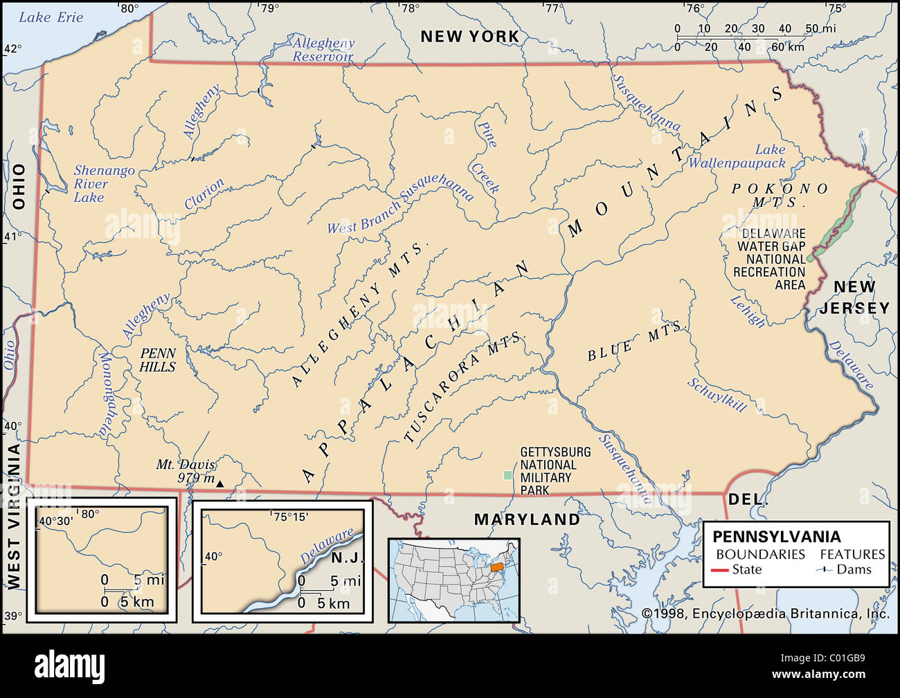 Physical Map Of Pennsylvania Stock Photo Royalty Free Image - Map of pennsylvania