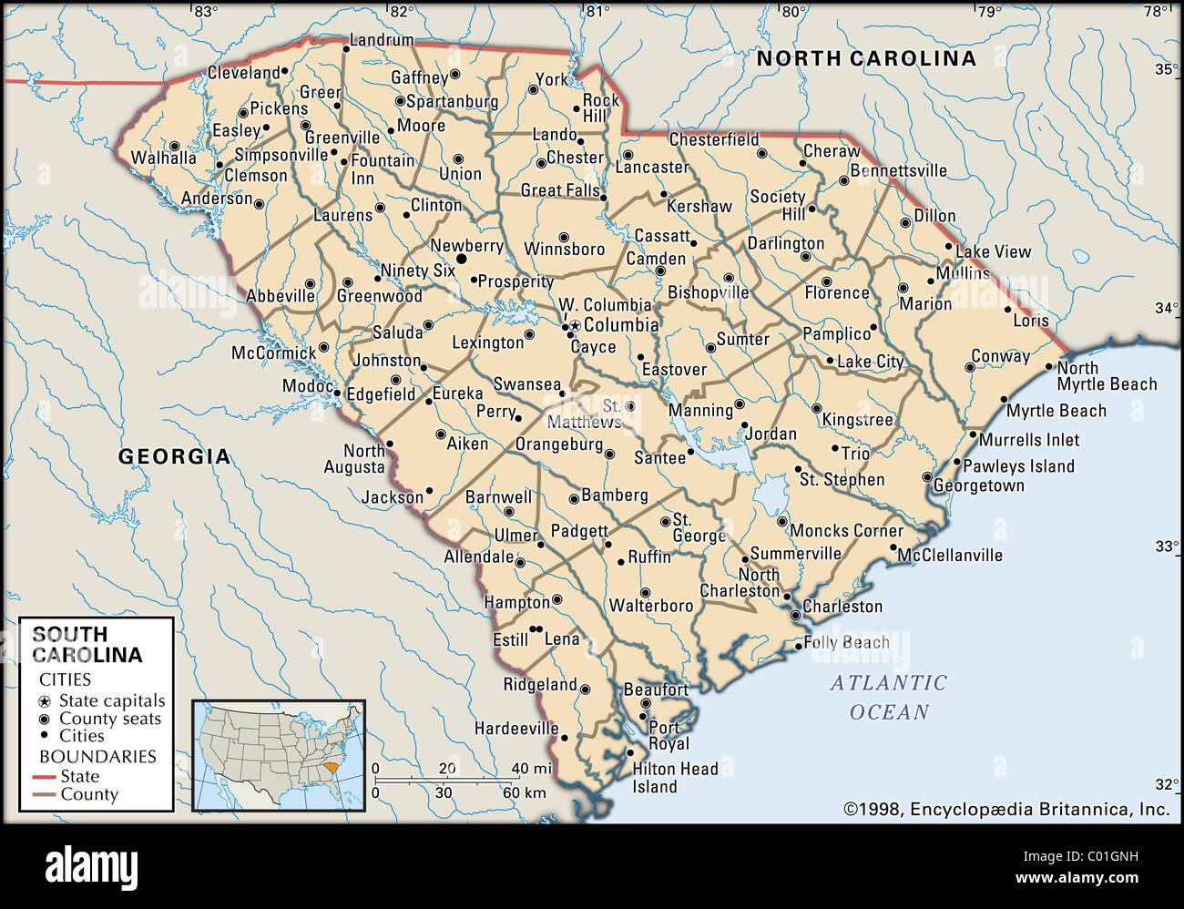 Map of South Carolina Stock Photo Royalty Free Image 34455837