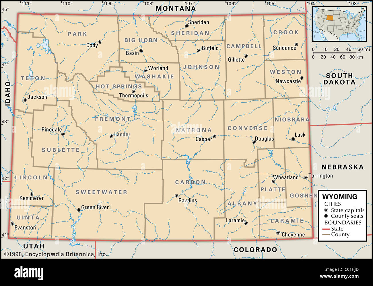 Political Map Of Wyoming Stock Photo Royalty Free Image - Montana political map