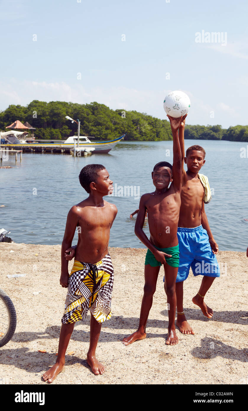 Black Colombian Kids With Football Colombia