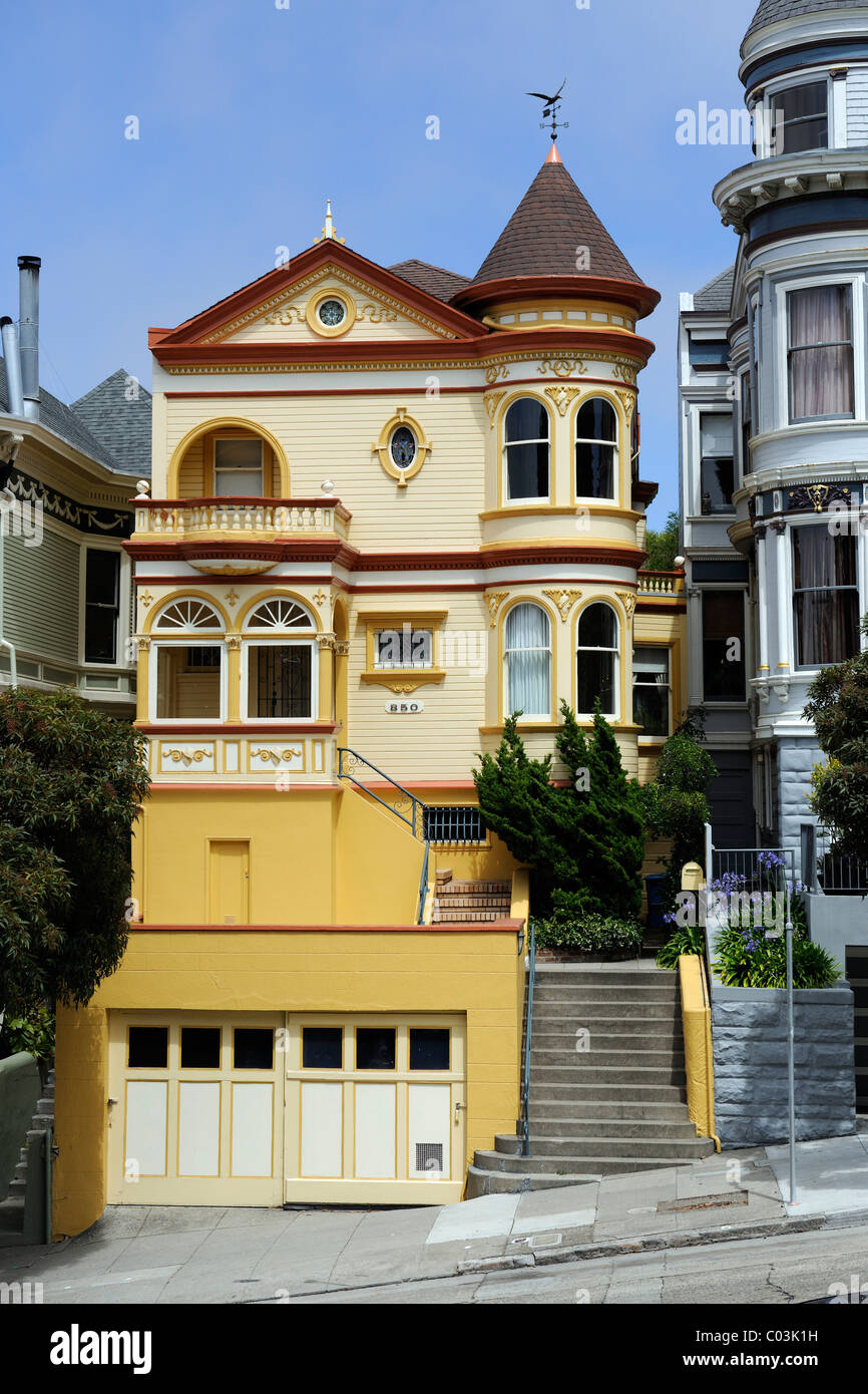 house in san francisco california usa north america stock - Victorian Style House