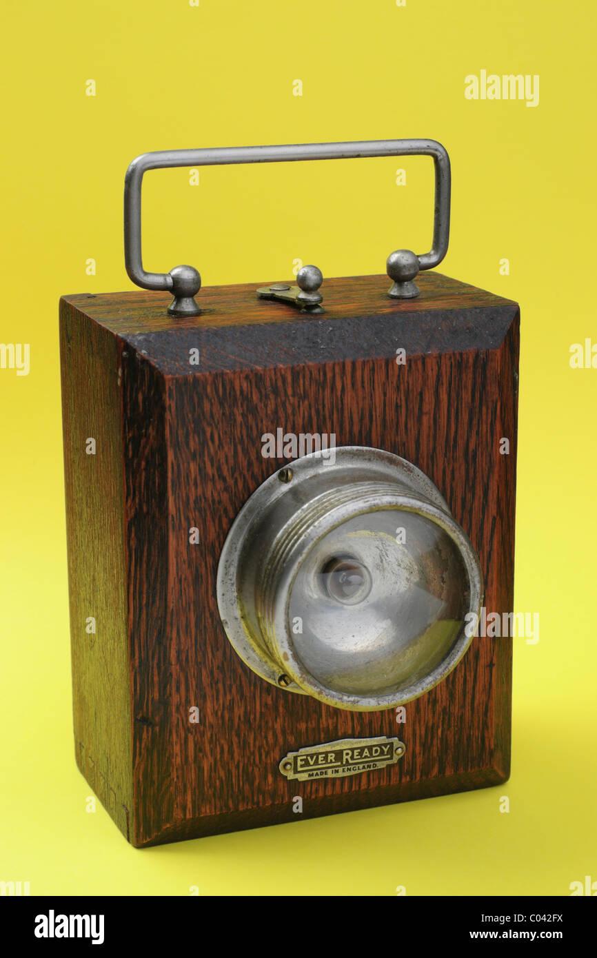 British Ever Ready Dark Oak Finish Wooden Box Lantern