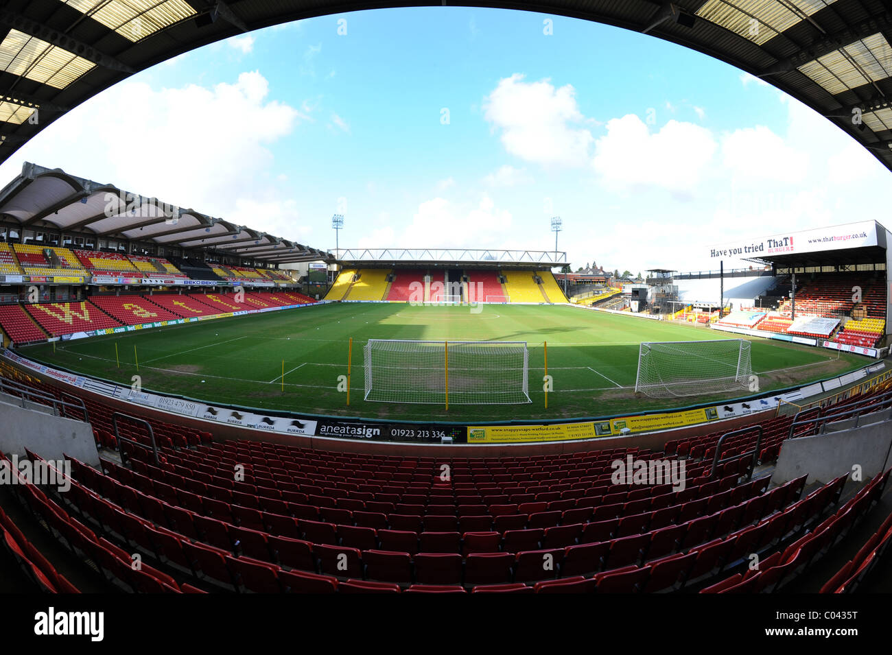 View Inside Vicarage Road Stadium Watford Home Of Football Club And Saracens Rugby