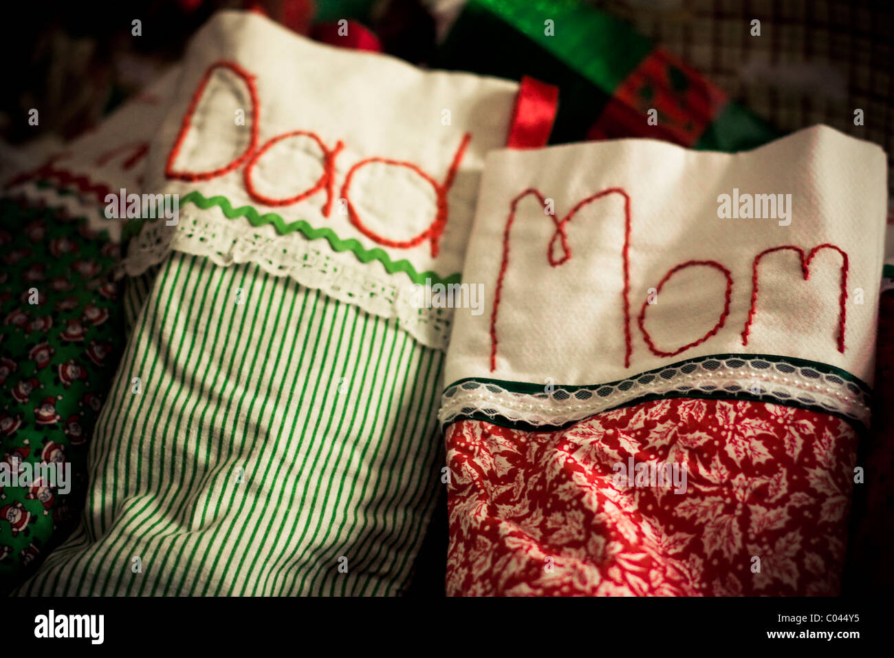 Hand-embroidered and sewn Christmas stockings for Mom and Dad ...