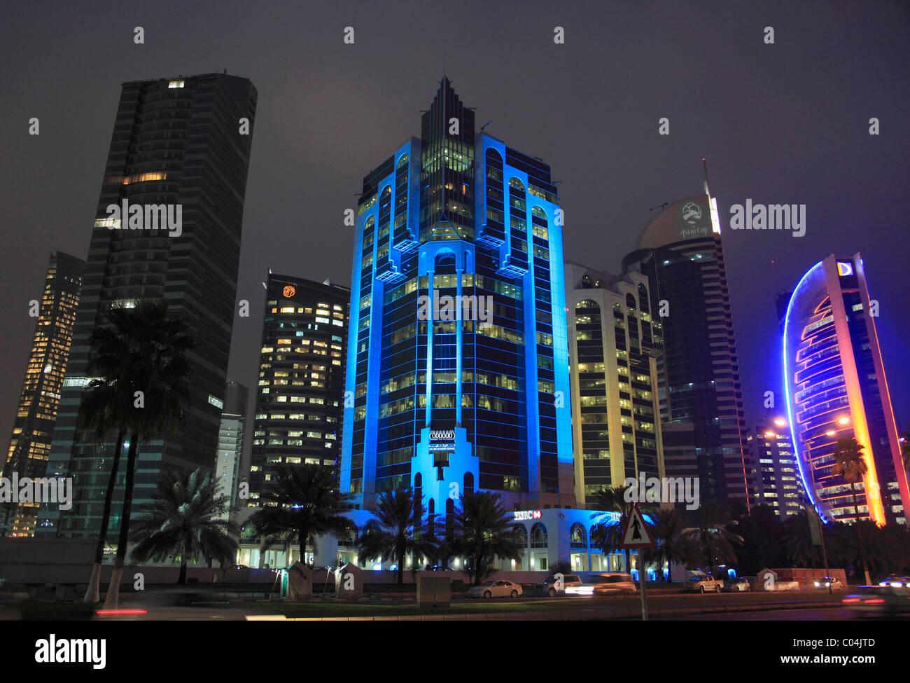 Modern Architecture Skyscrapers qatar, doha, al corniche street, modern architecture, skyscrapers