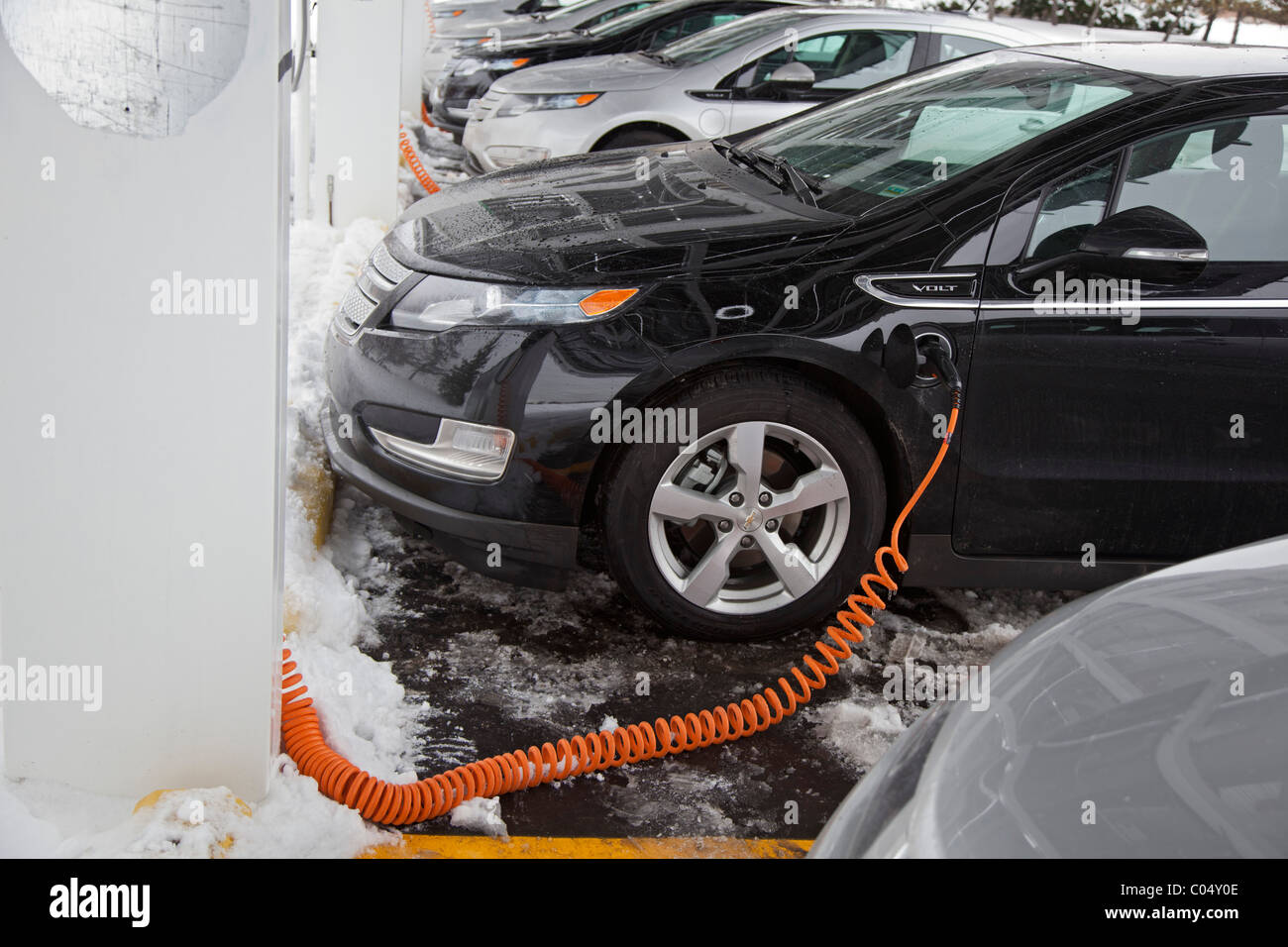 Chevrolet Volt Electric Cars Charging Outside The Factory Where