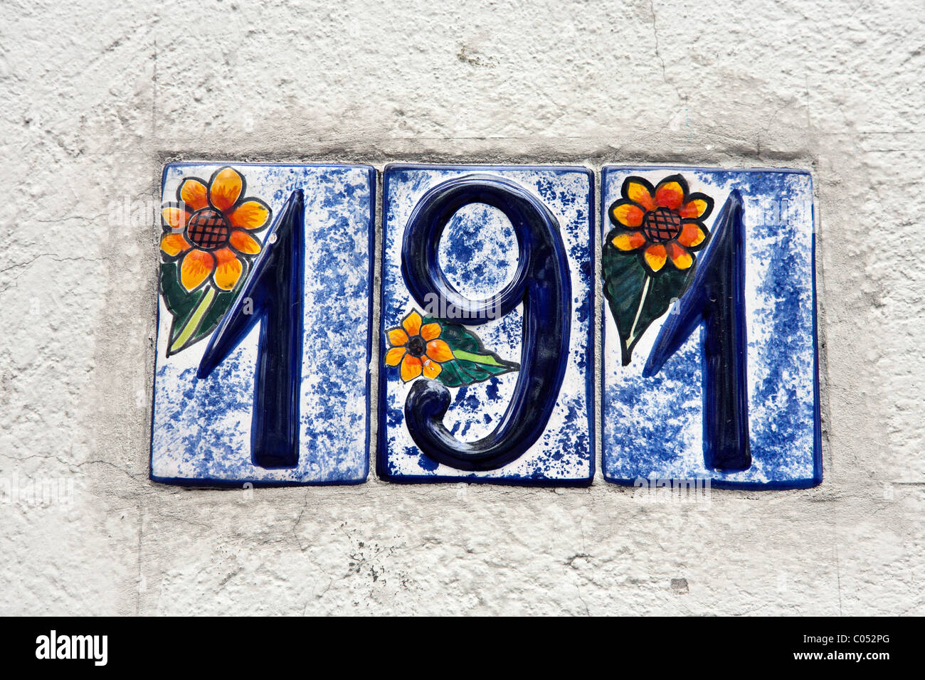 Beautiful whimsical decorative glazed ceramic house number hand beautiful whimsical decorative glazed ceramic house number hand painted with marvelous colored floral design roma district dailygadgetfo Images