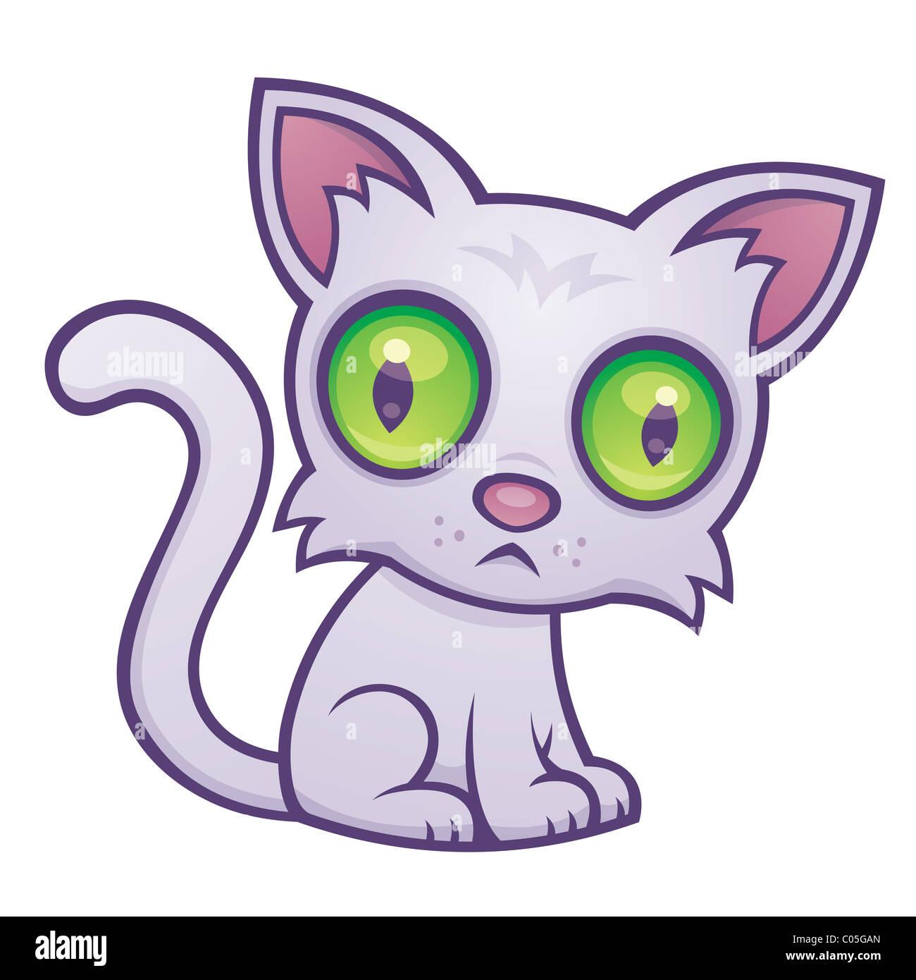 Vector cartoon illustration of a cute kitten with big green eyes