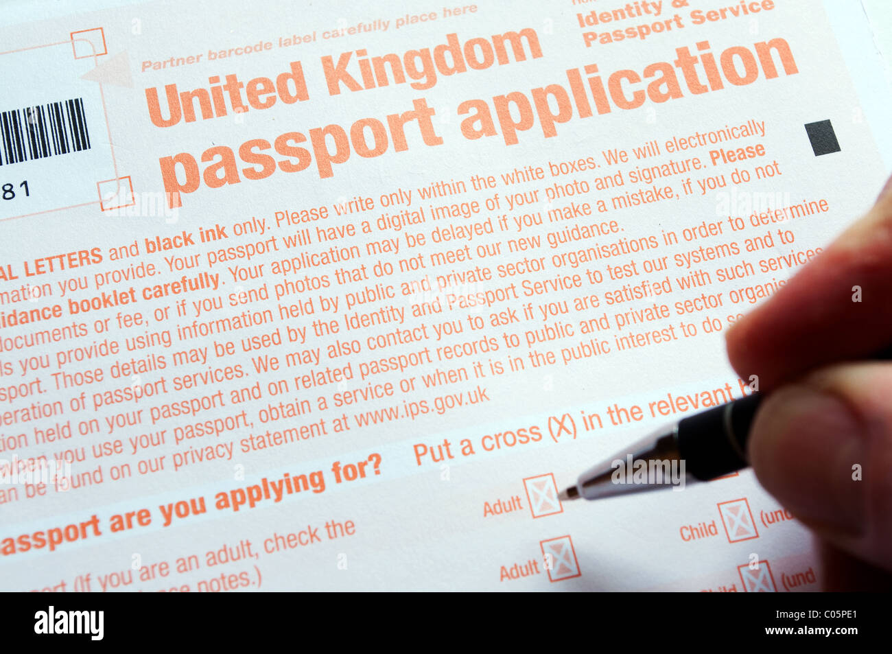 Passport application form stock photos passport application form a united kingdom passport application form being filled in stock image falaconquin