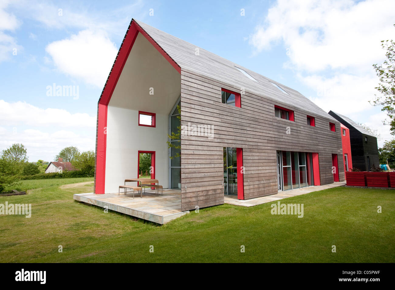 timber clad exterior of the sliding house suffolk england  photo jeff stock photo  royalty free