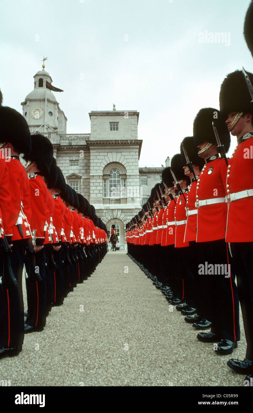 scots guards trooping the colour in horse guards parade stock
