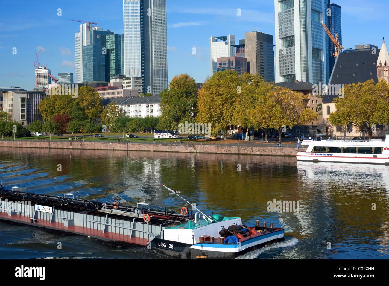 River Barge Passing The City Of Frankfurt On The Main River - Frankfurt river