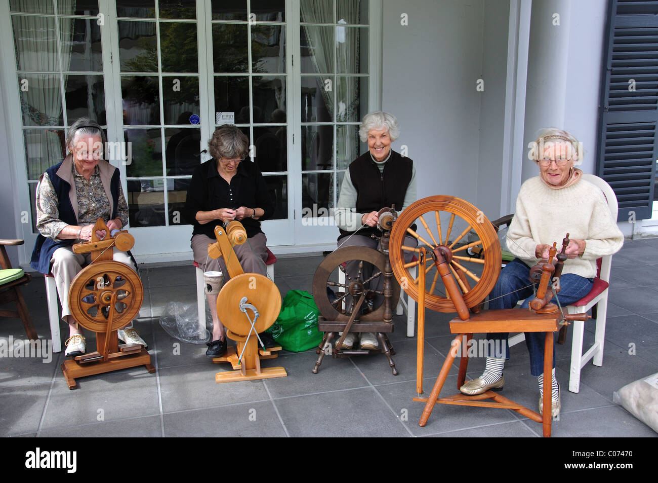 Elderley Women In Wool Spinning Class Bishops Park Care Home Terrace Christchurch Canterbury South Island New Zealand