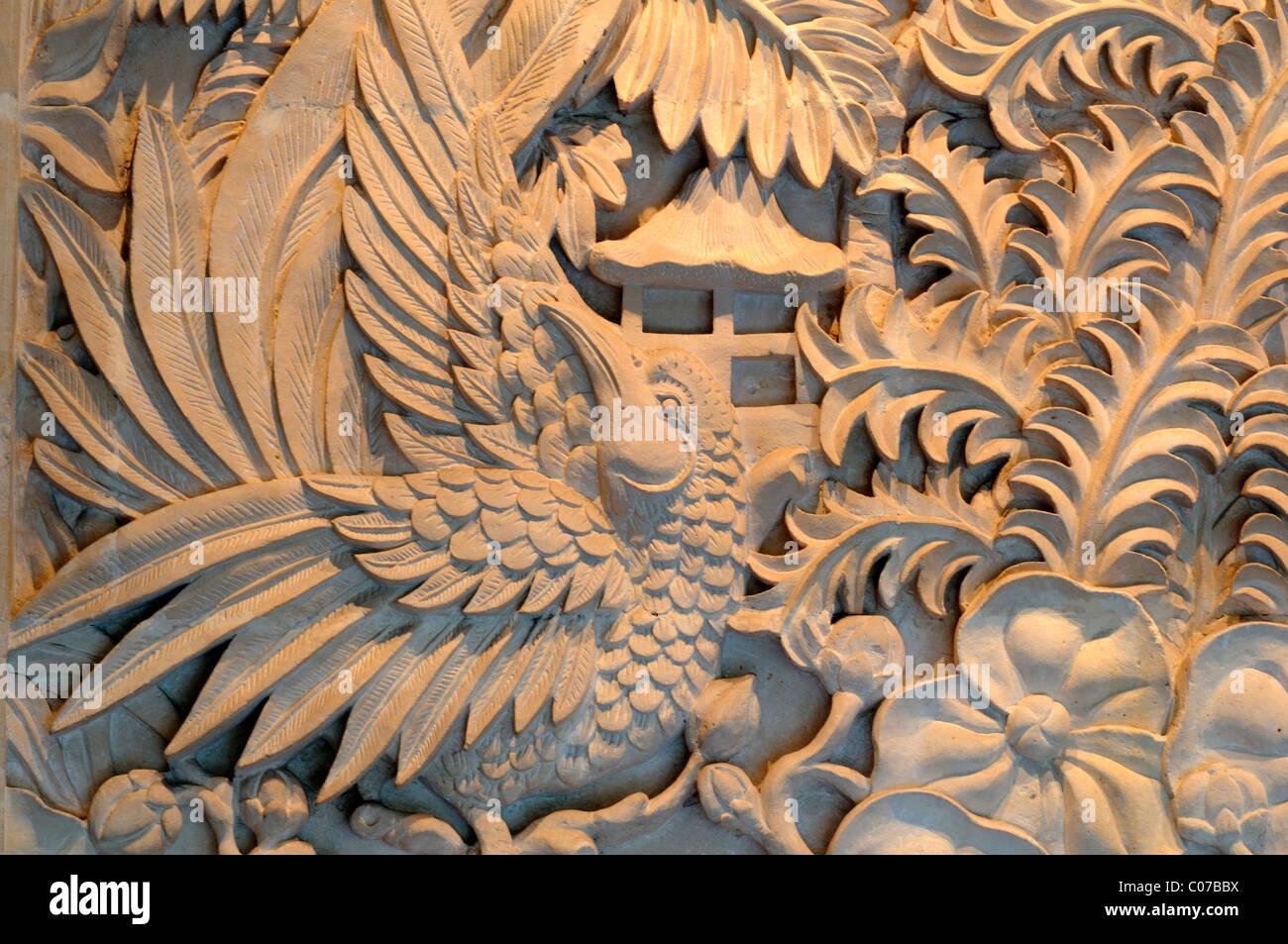 Javan hawk eagle spizaetus bartelsi wall plaster relief