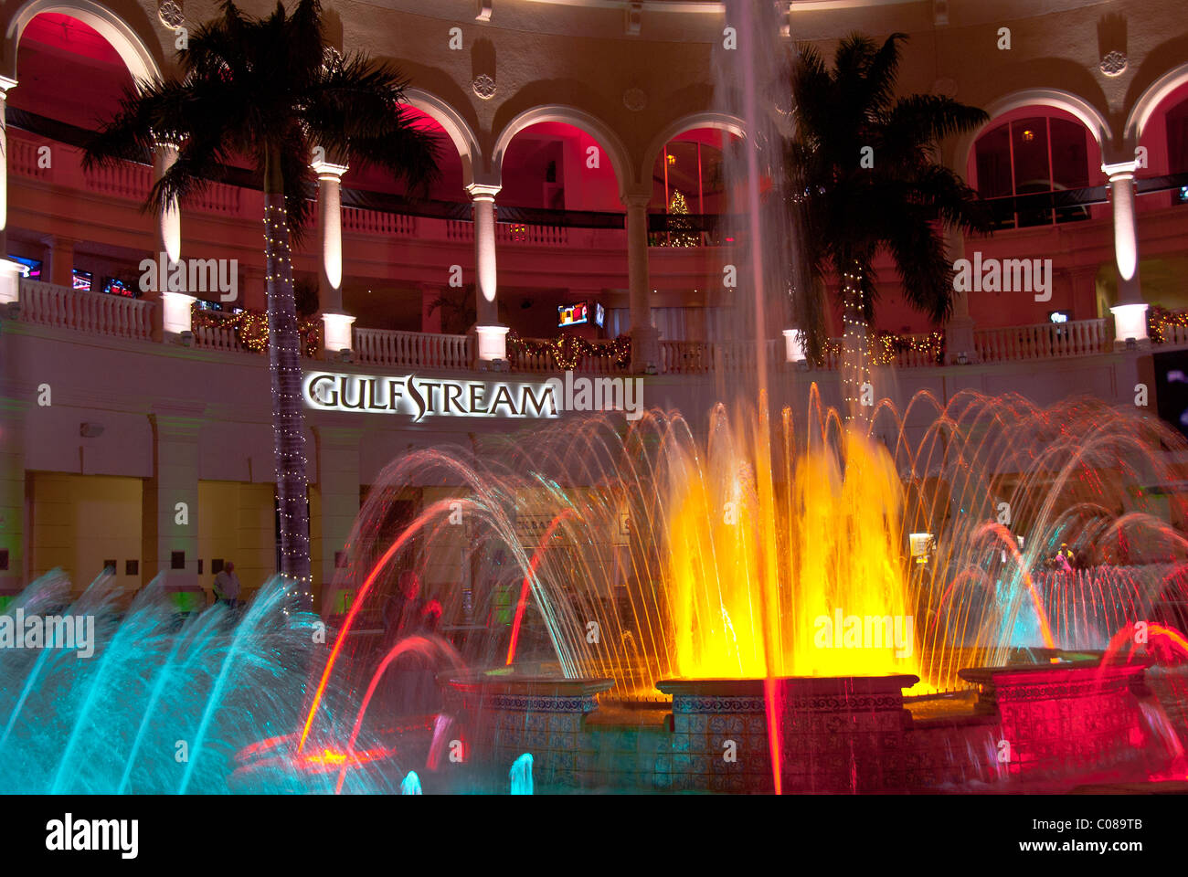 Christmas lighting and decorations on fountains at The Village at