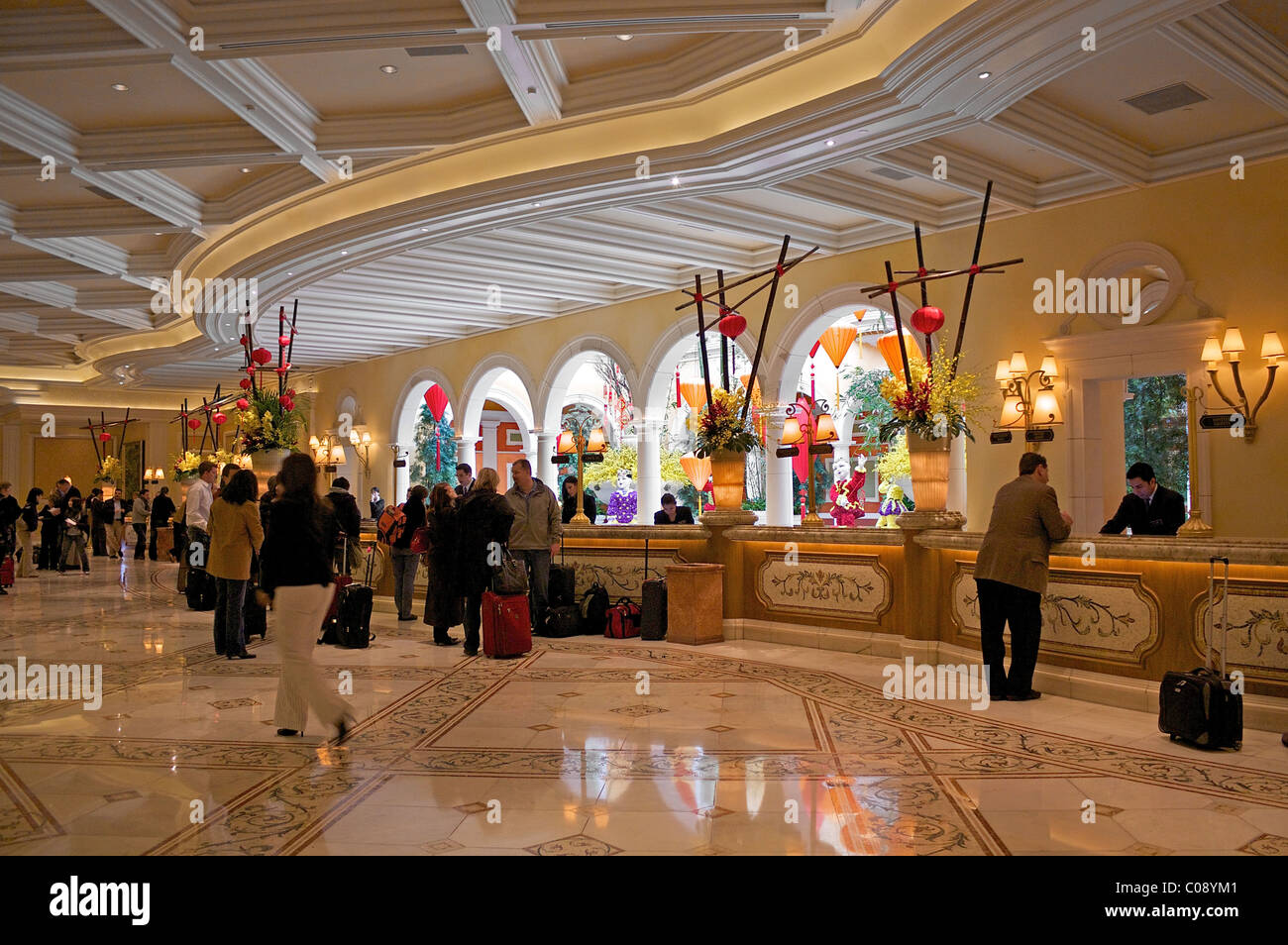 The Front Desk Of The Bellagio Hotel In Las Vegas Stock
