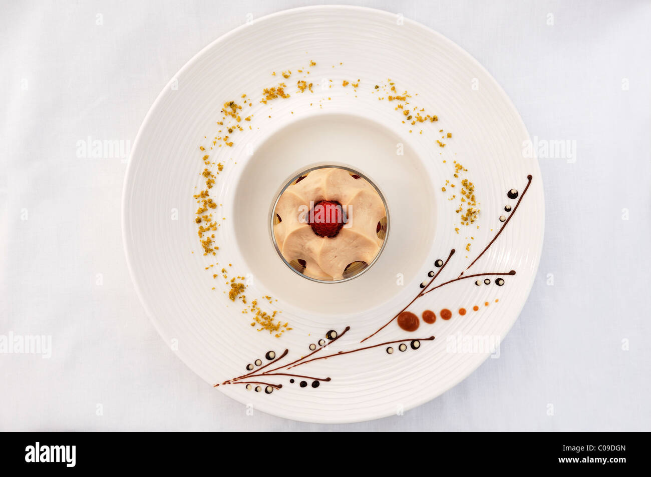 Dessert, latte macchiato mousse on a decorated plate, haute ...