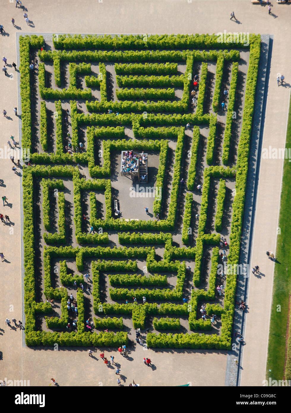 labyrinth garden design. Aerial view  labyrinth hedge maze Landesgartenschau Hemer Country Garden Exhibition Maerkischer Kreis area