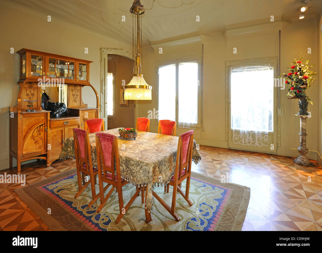 Dining room and living room show apartment museum Casa Mil
