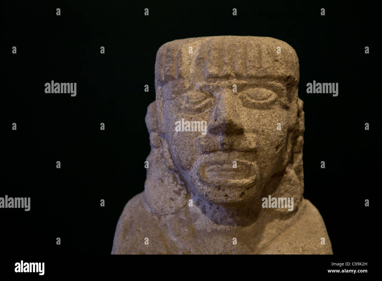 Stone carving of a toltec indian found in the ancient