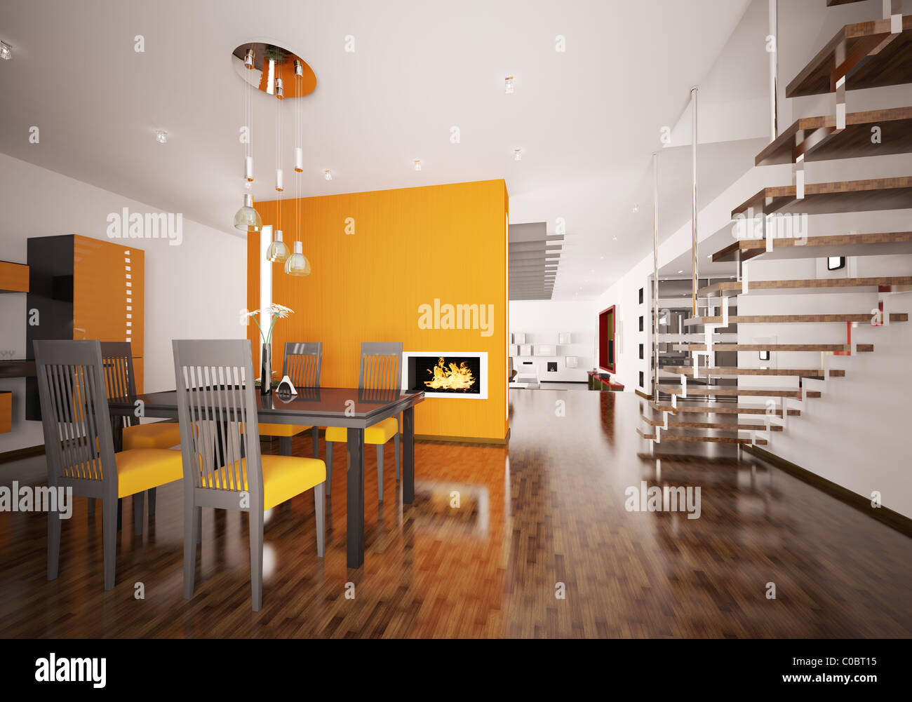 interior of modern orange kitchen with fireplace 3d render stock