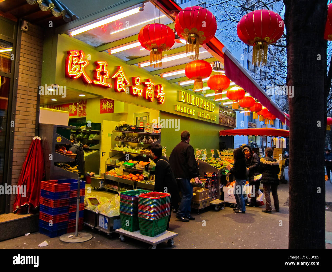 paris france asians shopping chinese food store chinatown stock photo royalty free image. Black Bedroom Furniture Sets. Home Design Ideas