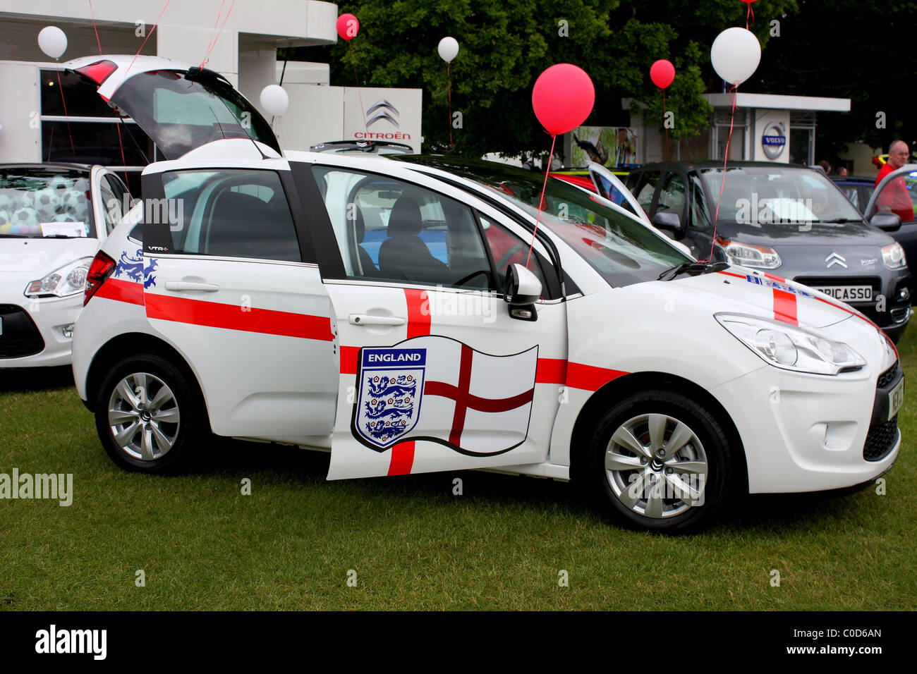 A ford fiesta at a car show event displaying the logo and symbol a ford fiesta at a car show event displaying the logo and symbol of the three lions and british red cross flag for the football biocorpaavc Choice Image