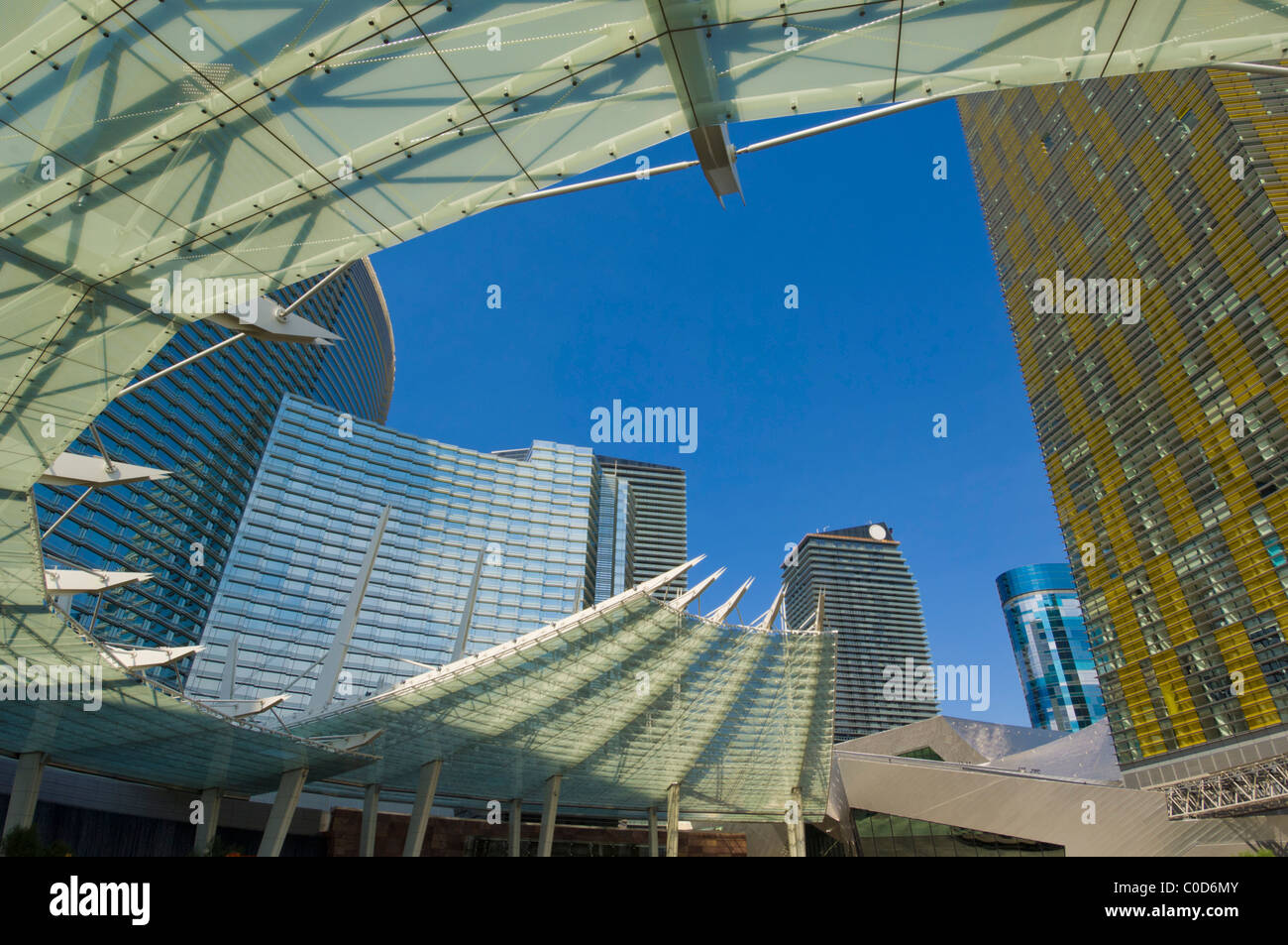 Glass canopy in front of Aria resort hotel and Veer towers condo Hotel Las Vegas Boulevard South Las Vegas Nevada USA & Glass canopy in front of Aria resort hotel and Veer towers condo ...