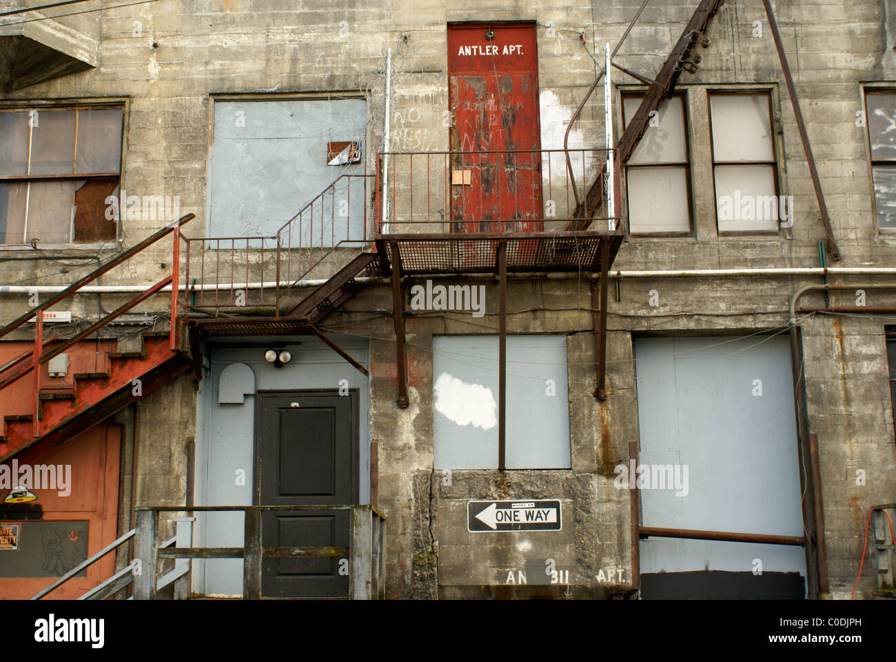 rear-view-of-a-dilapidated-building-and-