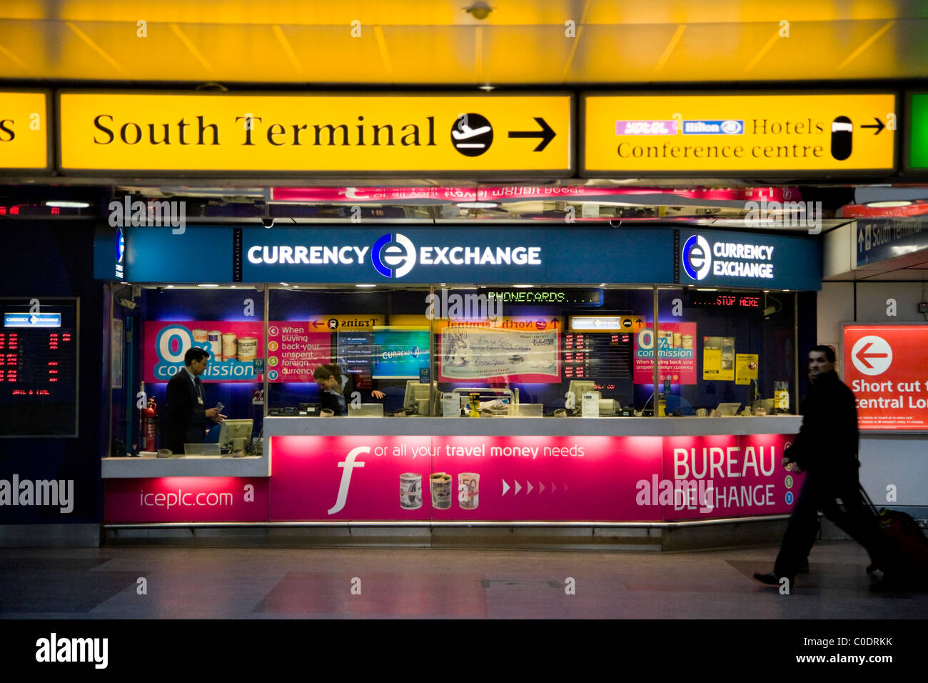 Bureau de change operated by international currency exchange 39 ice 39 stock photo royalty free - Gatwick airport bureau de change ...