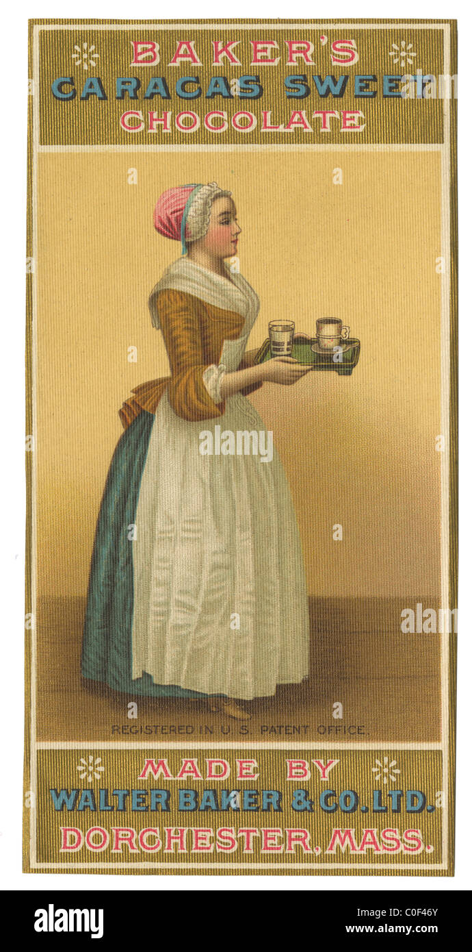 Circa 1900 Baker's Chocolate Caracas Sweet label Stock Photo ...