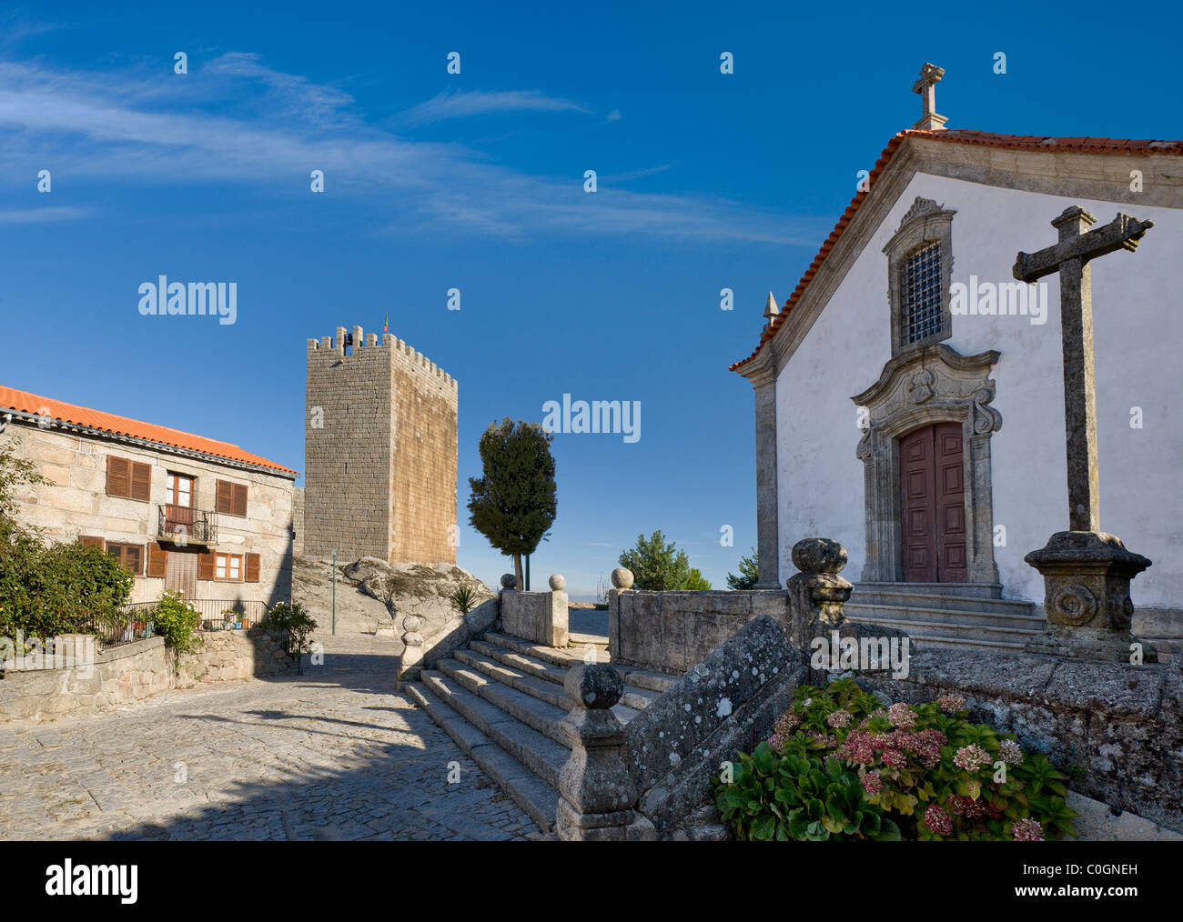 Portugal, the Beira Alta, Linhares church and castle Stock Photo, Royalty Free Image 34788841