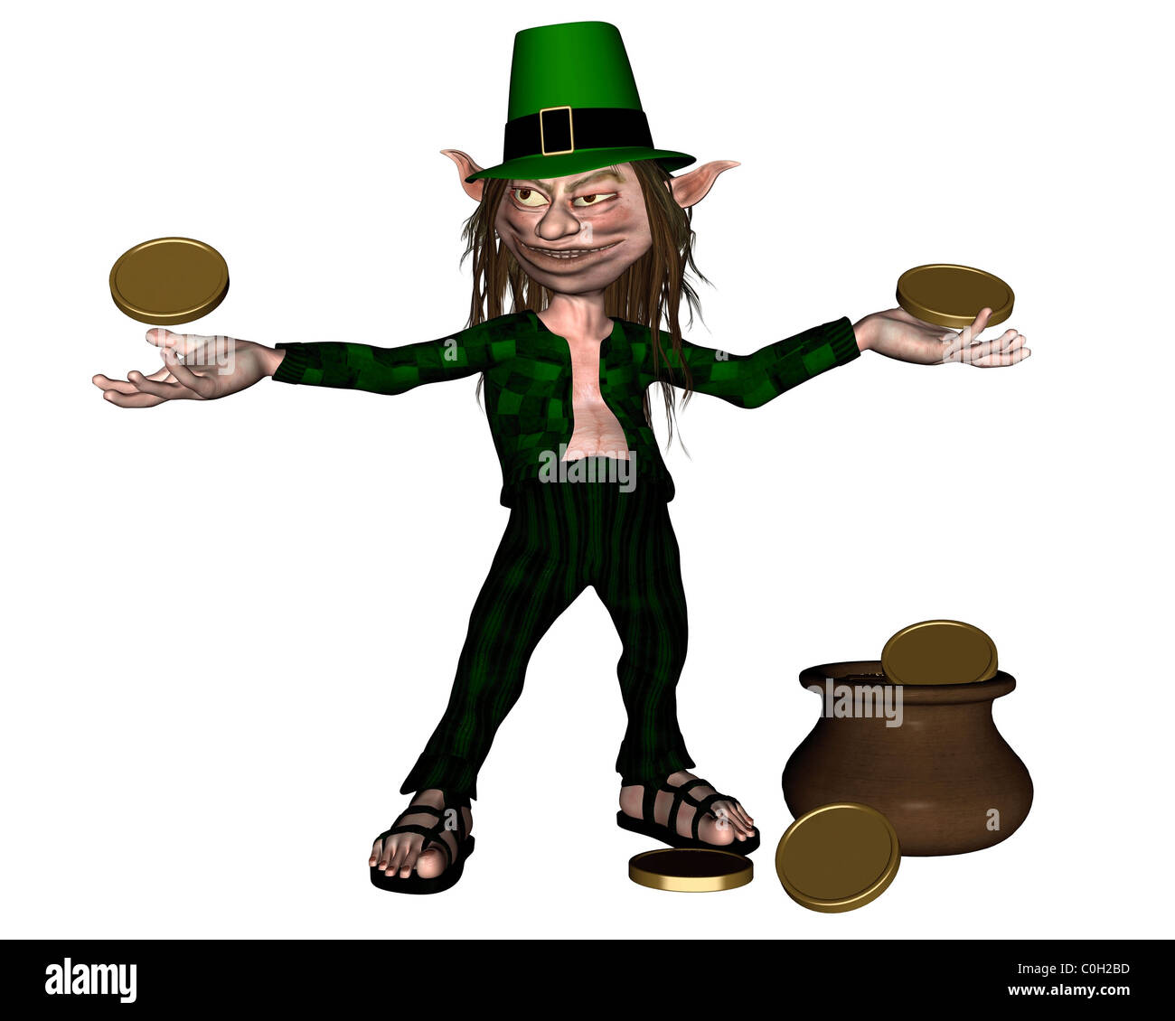 irish leprechaun with coins and a pot of gold stock photo  royalty    irish leprechaun   coins and a pot of gold