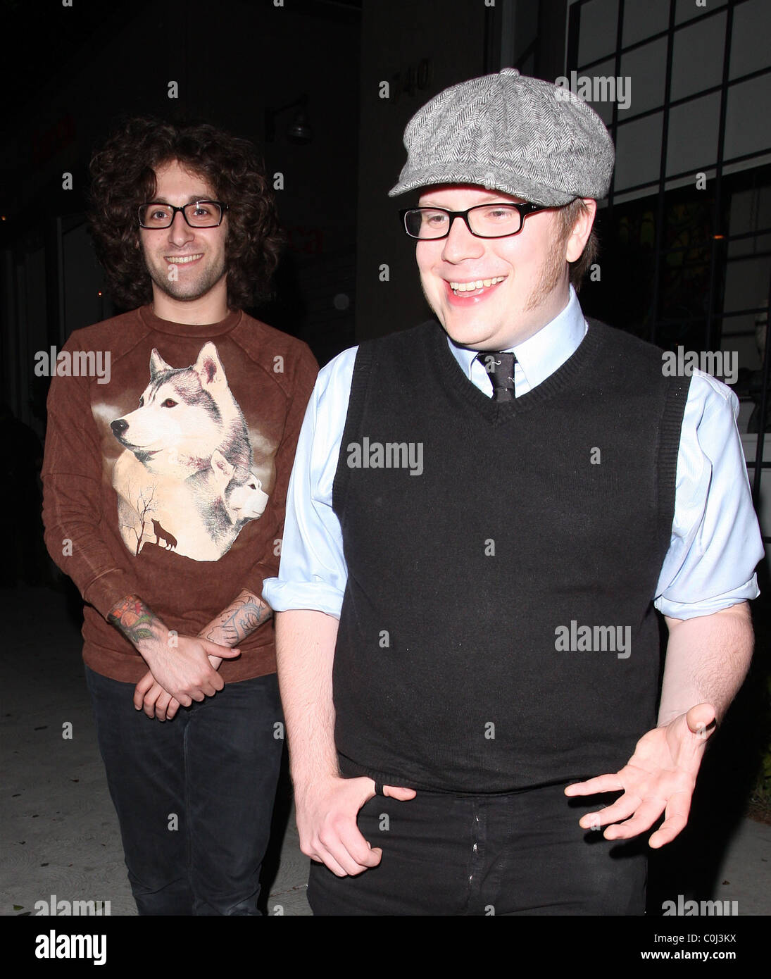 Patrick stump of fall out boy and guest outside koi for Koi restaurant los angeles