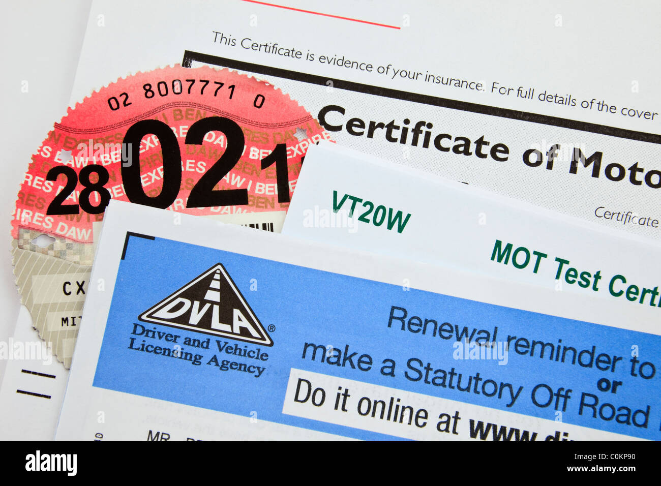 Mot test certificate stock photos mot test certificate stock dvla renewal reminder form for renewing road tax disc with motor insurance 1betcityfo Image collections