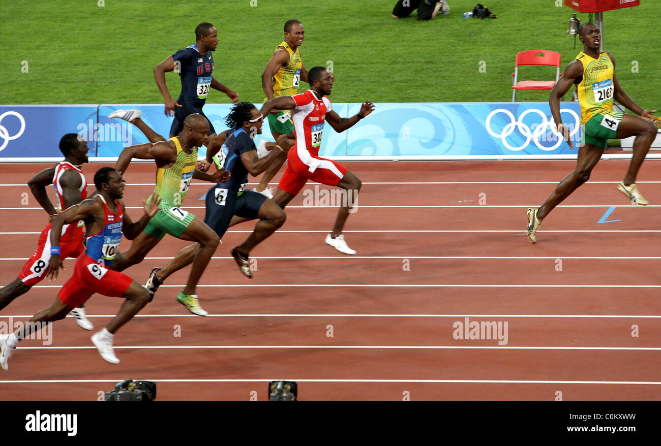 Usain Bolt of Jamaica during the men's 100m final at the ...