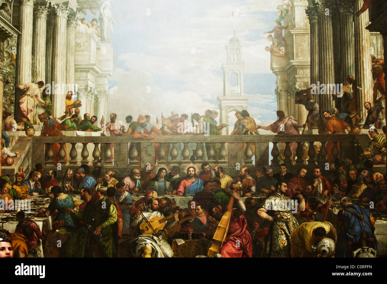 painting the last supper in a museum musee du louvre paris