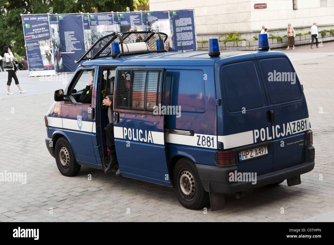 Polish Police Force Blue Van Monitoring At Old Town Sq