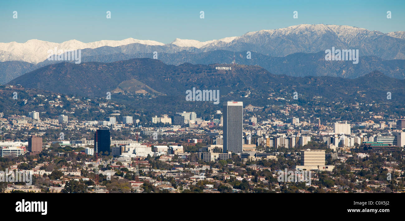 skyline of los angeles after a winter storm featuring snow. Black Bedroom Furniture Sets. Home Design Ideas