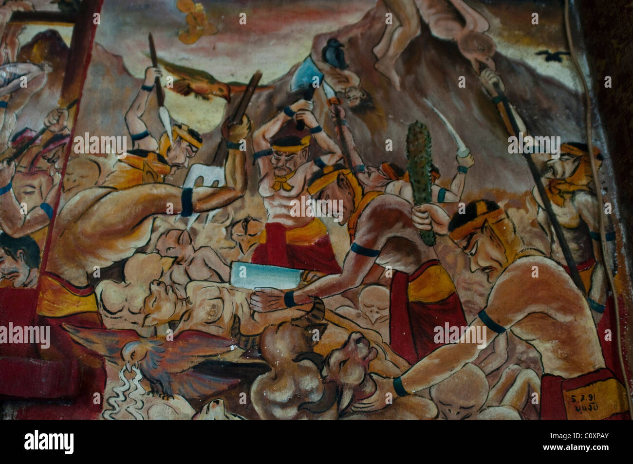 mural painting on the walls of a buddhist temple bhutan stock scenes from buddhist hell on the interior walls of the main temple wat aham