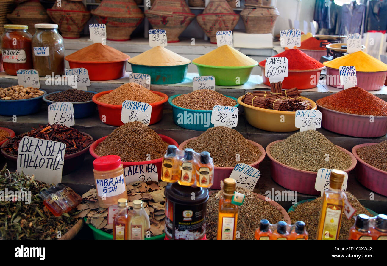 moroccan herbs and spices on a market stock photo, royalty free