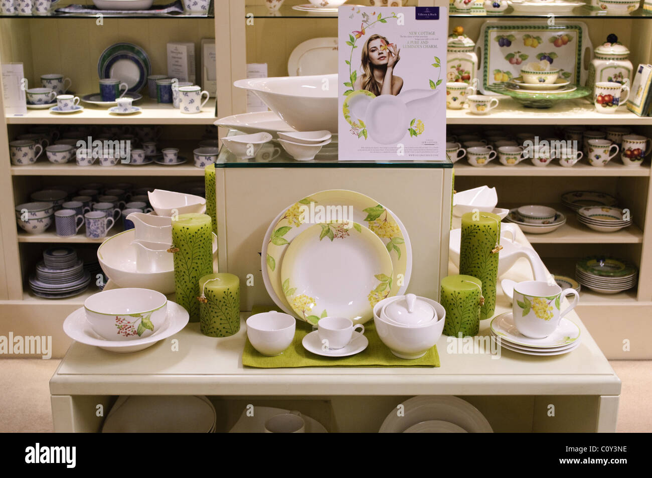 villeroy boch tableware on display in a china shop stock photo royalty free image 35016394. Black Bedroom Furniture Sets. Home Design Ideas