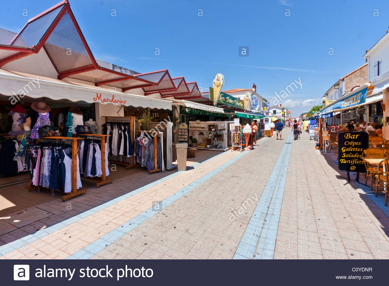 shopping in the seaside town of la tranche sur mer vendee stock photo royalty free